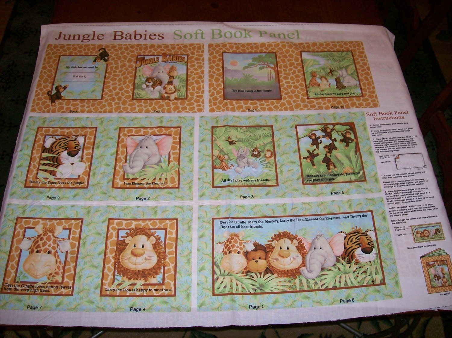 An adorable jungle babies soft book fabric panel free us for Childrens jungle fabric