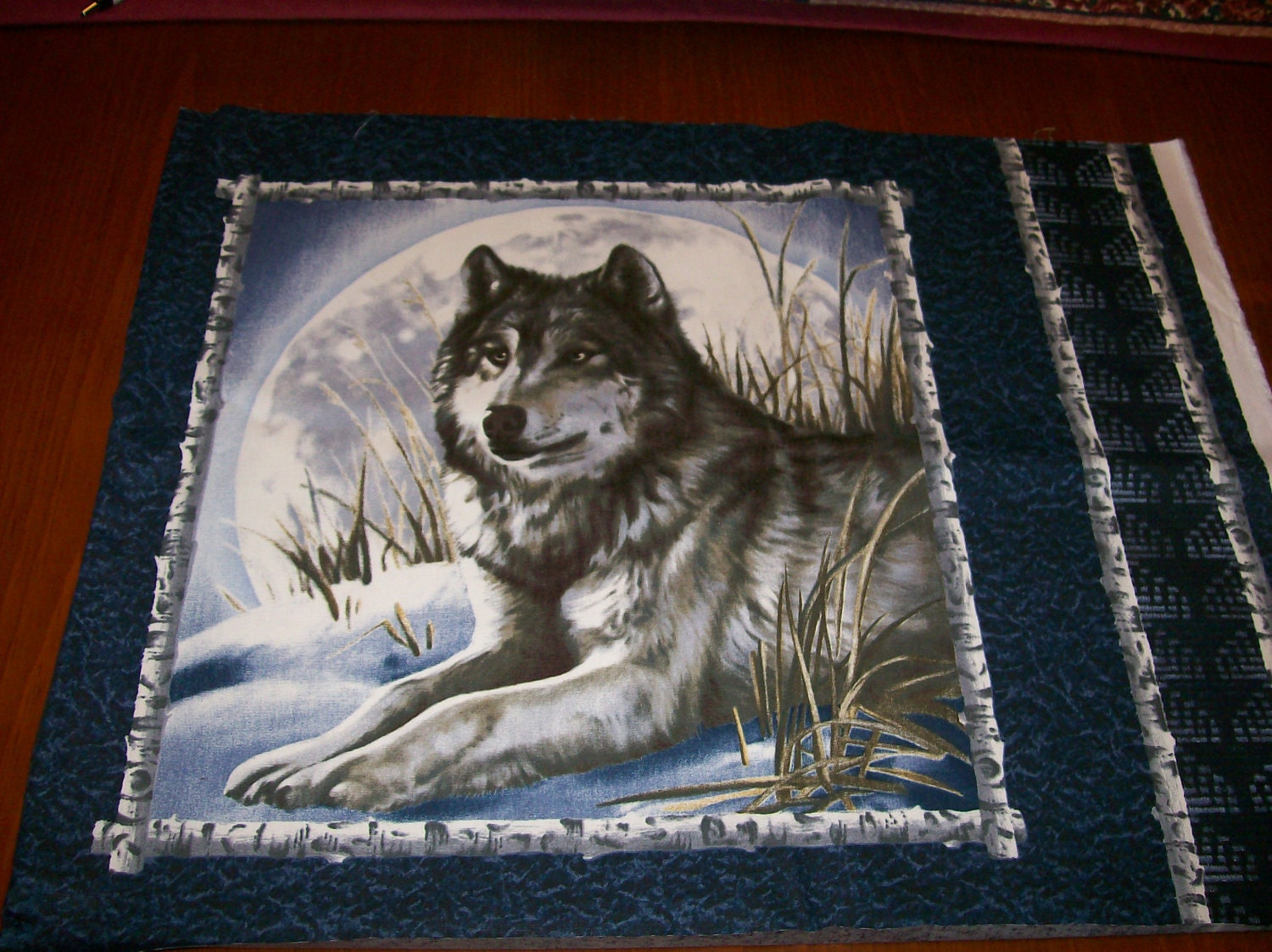 A Beautiful Wolf In The Snow Fabric Panel Free Us Shipping
