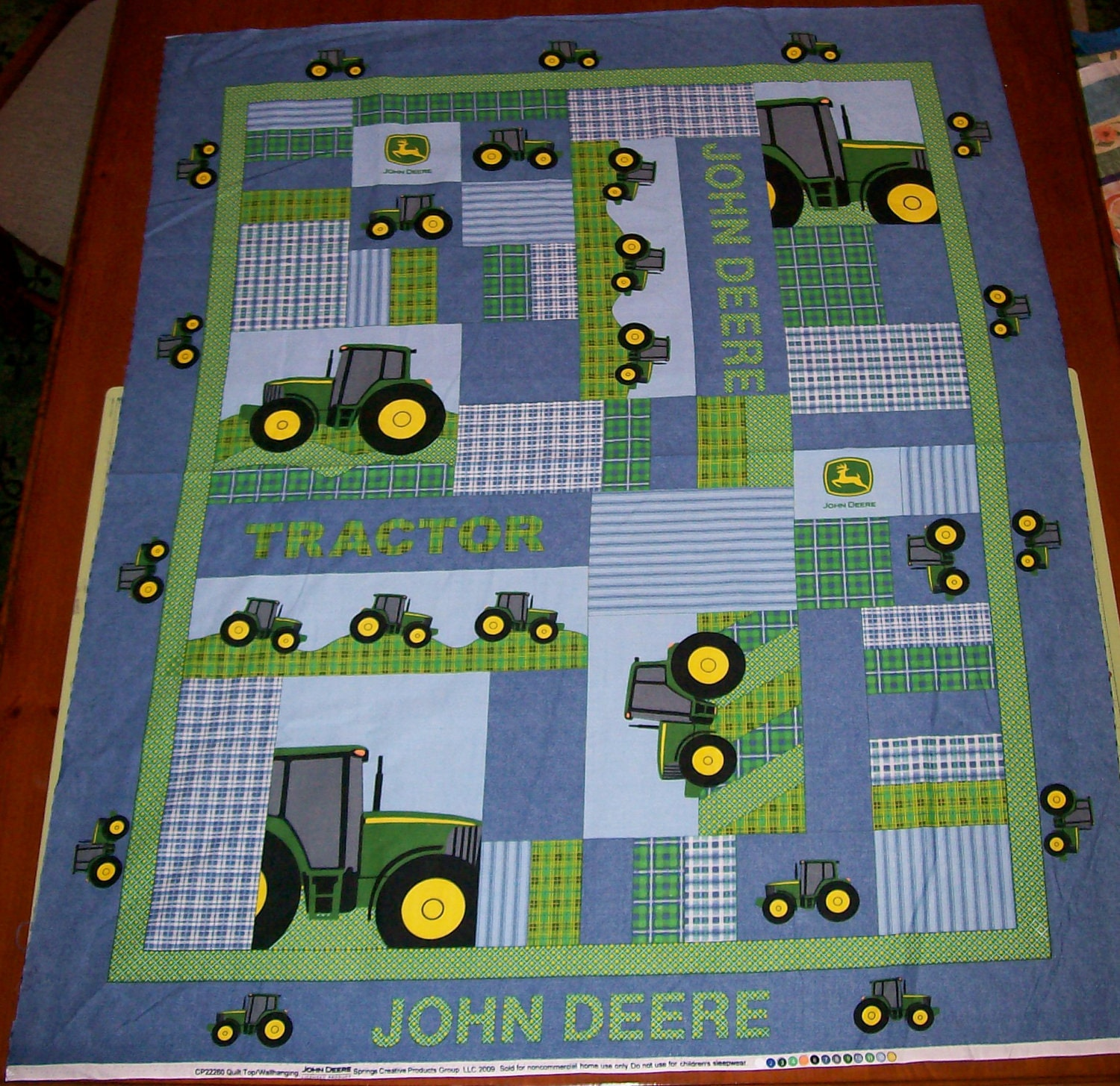 John Cotton Books: A Wonderful John Deere Patch Fabric Panel Free US Shipping