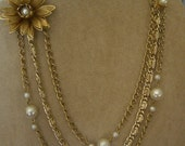 Gold Tone Three Strand Necklace  Vintage OOAK