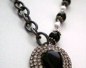 Recycled Vintage RhinestonePendant Necklace