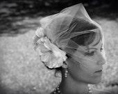 Romantic tulle birdcage  White veil and flower fascinator set