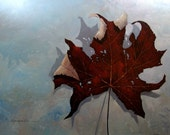 LARGE maple leaf original oil painting on canvas 48in x 60in by Kanayo Ede