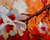 Almond bloom. 20in x 30in hand embellished giclee print on canvas. flowers