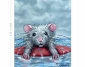 ACEO print Rat sad surfer wipeout beach KMCoriginals