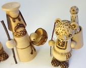 Reserve for Leslie: Russian Figurines / Pyrograph Style Carved Wood