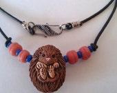 ceramic Hedgehog pendant  Tribal Necklace