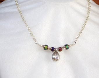 Rainbow Cowrie Chime sterling silver Necklace