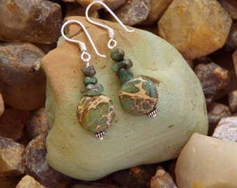 Natural Emerald with Aqua Terra Jasper Drop Earrings