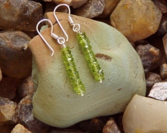 Natural Olive Green Glowing Peridot Drop  Earrings
