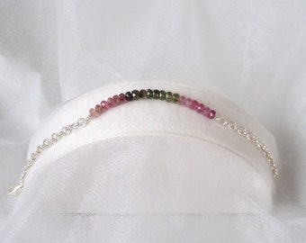 Watermelon Tourmaline and silver Bracelet
