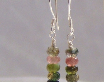 Hand faceted Tourmaline and Sterling Silver Earrings