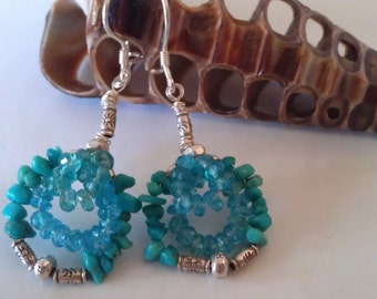 Sleeping Beauty Aquamarine Apatite  Earrrings