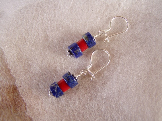Lapis Lazuli Red Coral Fine Silver Drop Earrings