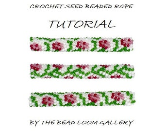 Bead Crochet Rope PATTERN - PDF File Tutorial - Climbing Roses