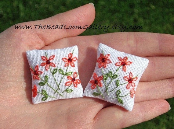 Dollhouse Pillows - Embroidered with Swarovski Rhinestones (Set of 2)