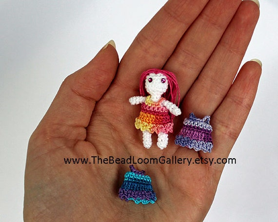 Crochet Miniature Doll with Clothes