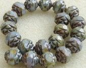 25 Czech Glass 8mm Fire Polish Round Beads with Picasso Green Luster Finish