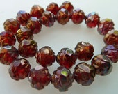 25 Czech Glass 8mm Fire Polish Round Rose Beads with Ruby Bronze Luster Finish