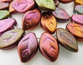 25 Rose, Olive and Gold Metallic Matte Czech Glass Leaves  12x7mm