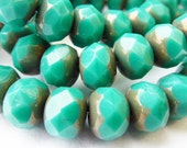 25 Czech Glass Fire Polish Roundels Opaque Green Turquoise with a Picasso Finish  9x6mm
