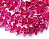 25 Czech Glass 3 Petal Flower Glass Beads in Fuchsia/Violet AB 10x12mm Size