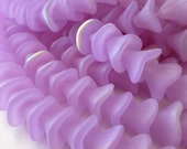25 Czech Glass 3 Petal Flower Beads in Translucent  Violet Matte AB  10x12mm Size