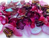 Czech Glass Leaf and Flower Mix in Shades Fuchsia and Purple   8 Different Types of Beads