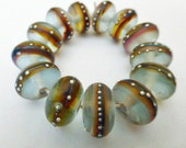 13  Handmade Glass Beads in Matte Translucent Sea Glass Blue and Fine Silver by SRA Sarah Klopping