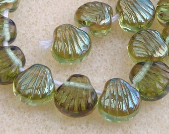 25 Czech Glass Sea Shells in Translucent Green Luster