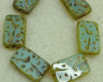 6 Czech Glass Rectangle Mint Green Opal Rectangles   with  Picasso  18.5x12mm