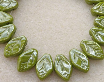 50 Czech Glass Leaf in Opaque Wasabi Green Luster in 12x7mm