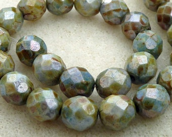 25 Czech Glass Fire Polished Beads in Mottled Green  (Picasso Finish) 8mm Si