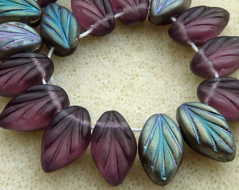 50 Czech Glass Leaves in Amethyst Vitrail Matte  Size 12x7mm