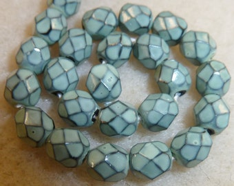 100 Sage Green Fire Polish Snakeskin Beads in size 6mm
