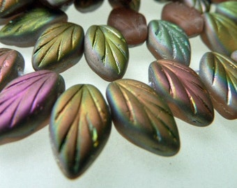 25 Czech Glass Leaves in Rose Matte Vitrail Matte   Size 12x7mm