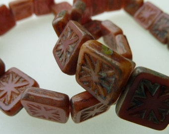 15 Czech Glass Square Beads in Opaque Rose/Olive  with Picasso Star Center
