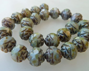 25 Czech Glass 6mm Fire Polish Round Rose Beads with Picasso Sage Green Luster Finish