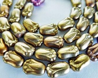 50 Matte Metallic Rose Gold Tulip Czech Glass Beads  Size 8x12mm