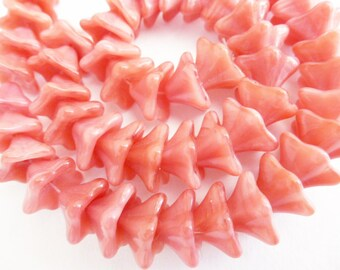Last Strands  36 Trumpet Flower 8x13mm Opaque Pink/Crystal Glass