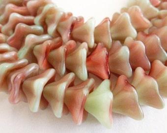 25 Czech Glass Trumpet Flower Beads  in a Beautiful Seafoam/Raspberry Swirl  8 X13mm