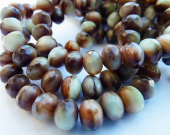 25 Brown/Ivory Fire Polish Roundel Glass Beads  5x6.5mm Size