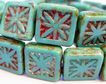 30 Czech Glass Square Beads in Opaque Green Turquoise with Picasso Star Center Size 10.5mm Square
