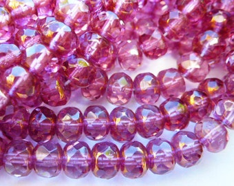 25 Fire Polish Fuchsia Roundel Beads with Gold End Caps 4x6mm size
