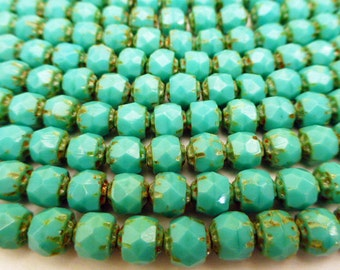 4 strands of 6mm Opaque Green Turquoise Renassance Fire Polish Cut Glass Beads for 3 Wrap Leather Bracelet