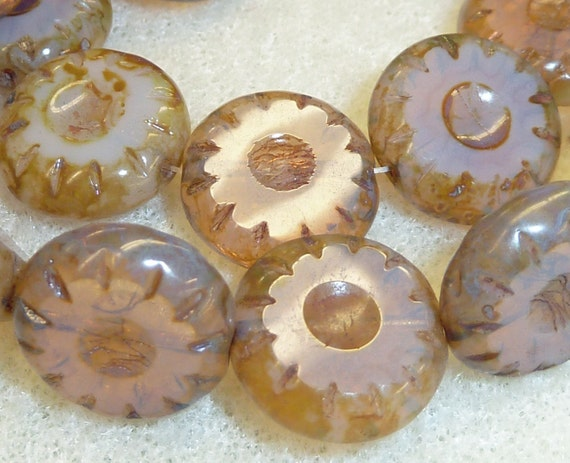 9 Czech Glass 14mm Round Flat Coins in Rose Opal with Diffusion