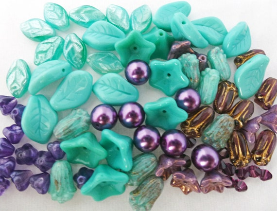 77 Czech Glass Bead Mix  with  Leaves and Flowers in Green Turquoise and Purples with Austrian Crystal   9 Different Types of Beads