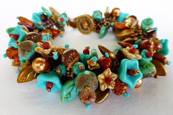 South West Garden Bracelet Kit  in Beautiful Green Turquoise, Copper, Brown and Cream  GB-103