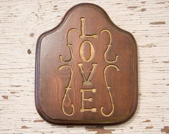 Vintage Homeware Hand Carved Love Plack wall hanging