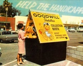 Goodwill Collection Booth, Vintage Postcard (Chrome)